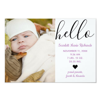 Hello Script Photo Purple - 3x5 Birth Announcement