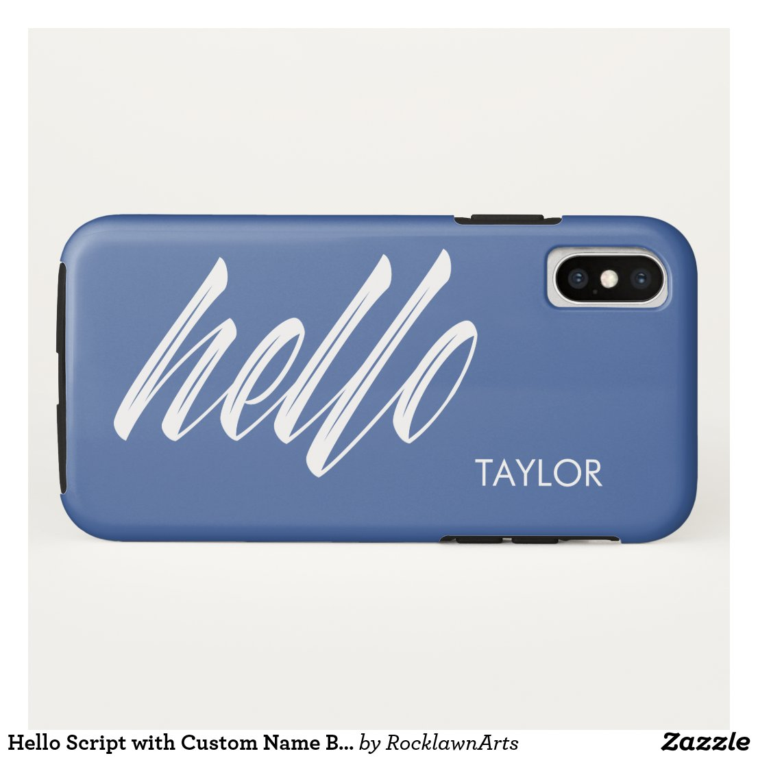 Hello Script with Custom Name Blue iPhone XS Case