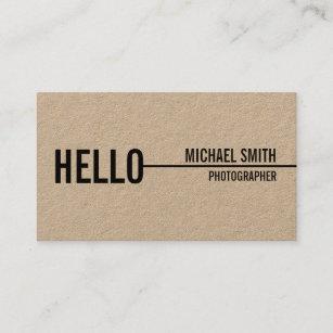 Kraft business cards templates zazzle hello simple modern minimalist kraft paper business card colourmoves