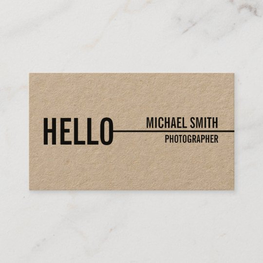 hello simple modern minimalist kraft paper business card - Kraft Paper Business Cards