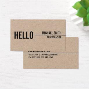 Kraft business cards templates zazzle hello simple modern minimalist kraft paper business card reheart Choice Image