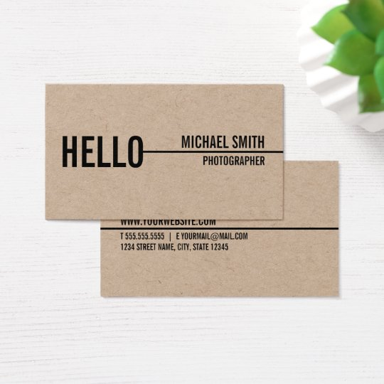 Hello simple modern minimalist kraft paper business card zazzle hello simple modern minimalist kraft paper business card reheart Gallery