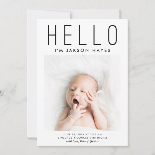 HELLO Simple Modern Photo Birth Announcement