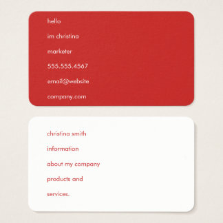 Hello Simple Text Red Business Card