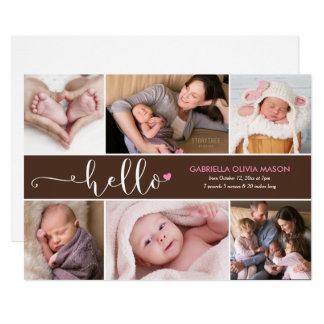 Hello Six Photo Collage Birth Announcement