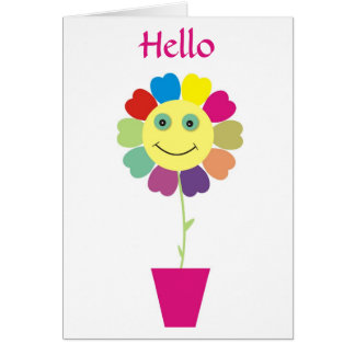 Hello Smiley Happy Face Flower Greeting Card