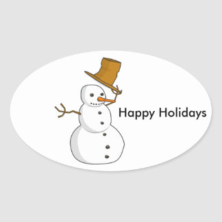 Hello Snowman Oval Sticker