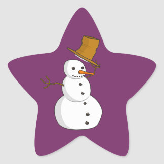 Hello Snowman Star Sticker