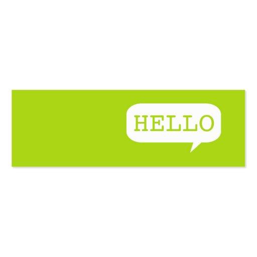 """Hello"" Speech Bubble Business Cards"