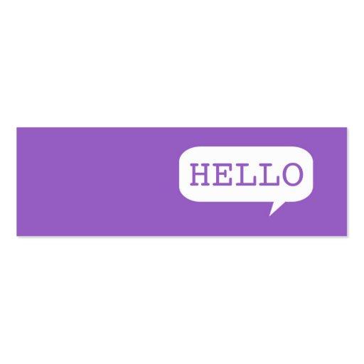 """Hello"" Speech Bubble Business Card Templates"