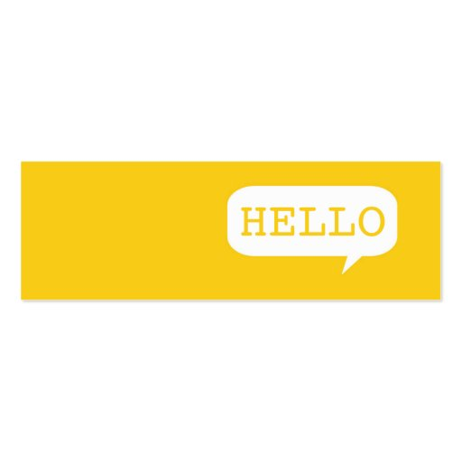 """Hello"" Speech Bubble Business Cards"