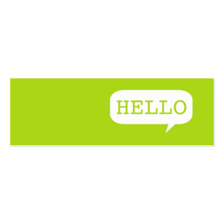 """""""Hello"""" Speech Bubble Double-Sided Mini Business Cards (Pack Of 20)"""