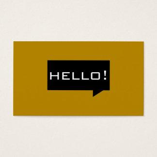 Hello speech bubble orange standard business cards