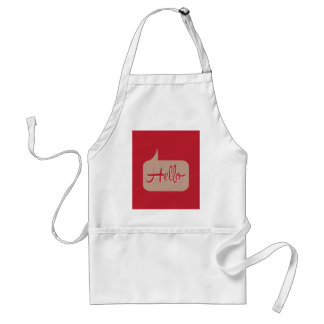 Hello Speech Bubble Red Adult Apron