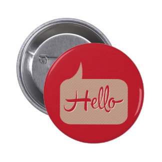 Hello Speech Bubble Red 2 Inch Round Button