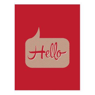 Hello Speech Bubble Red Postcard