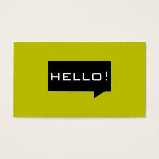 Hello speech bubble yellow standard business cards