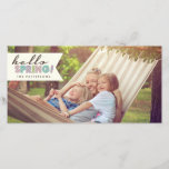 """Hello Spring Happy Easter Photo Card<br><div class=""""desc"""">Celebrate the arrival of Spring or send a happy Easter greeting with this fun and stylish photocard.  Features a photo of your family and the welcome message &quot;Hello Spring!&quot; in pastel typography.</div>"""