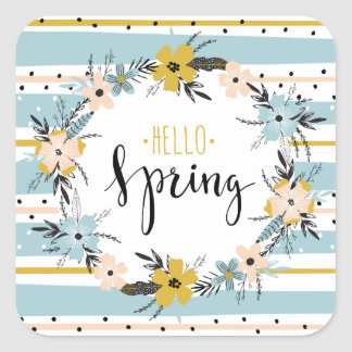 Hello Spring. Spring Flowers Easter Gift Stickers