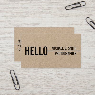 Bold minimalist brown kraft paper business card zazzle colourmoves