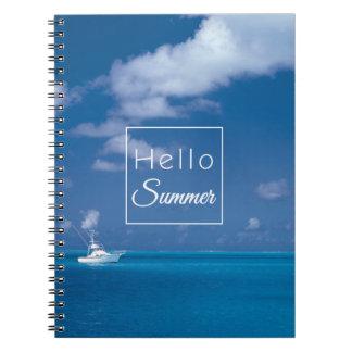 Hello Summer Blue Caribbean Horizon Ocean Quote Notebook