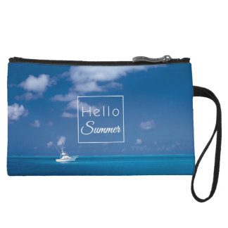 Hello Summer Blue Caribbean Sea Beach Typography Wristlet Wallet