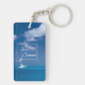 Hello Summer Blue Caribbean Sea Horizon Typography Keychain