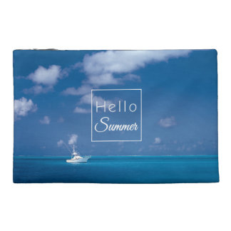 Hello Summer Blue Caribbean Sea Horizon Typography Travel Accessory Bags