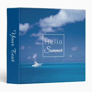 Hello Summer Blue Caribbean Sea Typography 3 Ring Binder
