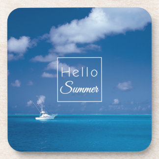 Hello Summer Blue Sky Caribbean Sea Turquoise Coaster