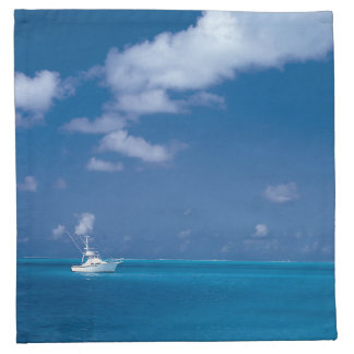 Hello Summer Boat Blue Caribbean Horizon Sea Cloth Napkin