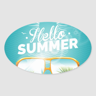 Hello Summer Design Oval Sticker