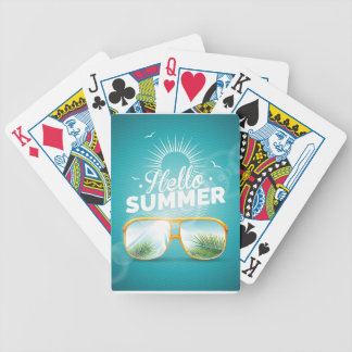 Hello Summer Design with sunglasses Bicycle Playing Cards