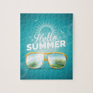 Hello Summer Design with sunglasses Jigsaw Puzzle