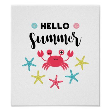 Beach Themed Hello Summer Happy Crab Poster