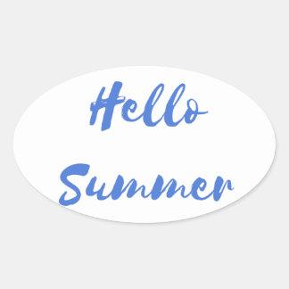 hello summer oval sticker