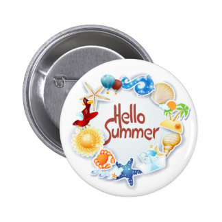 Hello Summer Pinback Button
