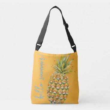 Beach Themed Hello Summer! Pineapple/Starfish Lg Tote-Tangerine Crossbody Bag