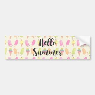 Hello Summer Popsicles and Ice Cream Bumper Sticker
