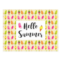 Hello Summer Popsicles and Ice Cream Postcard