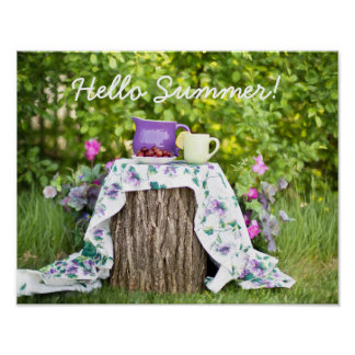 Hello Summer Tea and Plums in the Garden Poster