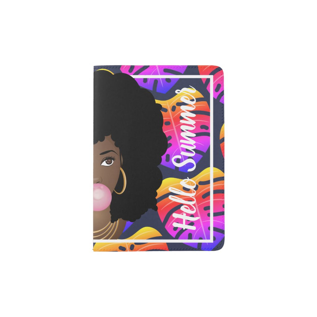 Hello Summer Tropical Leaves Blue Passport Holder