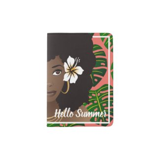 Hello Summer Tropical Leaves Coral Passport Holder