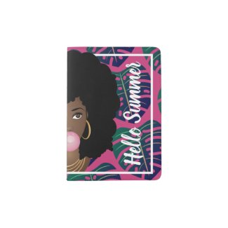 Hello Summer Tropical Leaves Pink Passport Holder