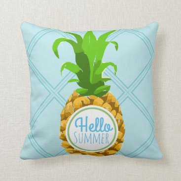 Beach Themed Hello Summer Tropical Pineapple Throw Pillow