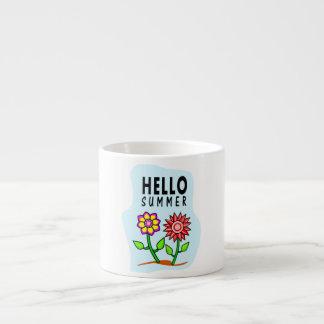 hello summer two bright flowers espresso mug 6 oz ceramic espresso cup