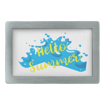 Beach Themed Hello Summer, Waves Graphic, Cool White Belt Buckle
