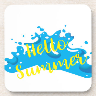 Hello Summer, Waves Graphic, Cool White Coaster