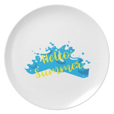 Hello Summer, Waves Graphic, Cool White Melamine Plate