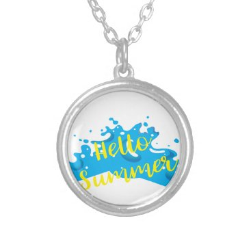 Beach Themed Hello Summer, Waves Graphic, Cool White Silver Plated Necklace